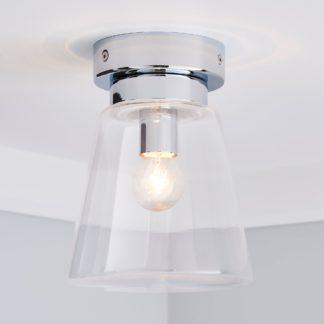 An Image of Delavin 1 Light Pendant Glass Flush Bathroom Ceiling Fitting Silver