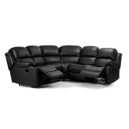 An Image of Anton Bonded Leather Reclining Corner Sofa Black
