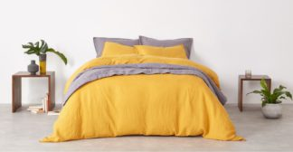 An Image of Brisa Linen Duvet Cover + 2 Pillowcases, Double, Dark Mustard UK