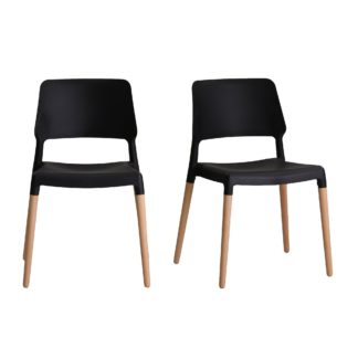 An Image of Reims Set of 2 Dining Chairs Black