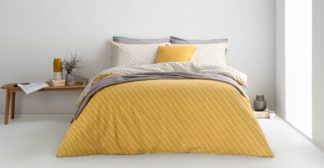 An Image of Prism Cotton Duvet Cover + 2 Pillowcases, Double, Mustard Grey UK