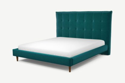 An Image of Custom MADE Lamas Super King Size Bed, Tuscan Teal Velvet with Walnut Stained Oak Legs