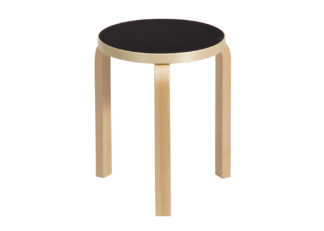 An Image of &Tradition Stool 60 Natural Birch Black Linoleum Seat