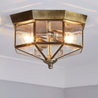 An Image of Ab 2 Light Antique Brass Flush Ceiling Fitting Bronze