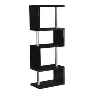 An Image of Charisma 5 Shelf High Gloss Black Bookcase Black