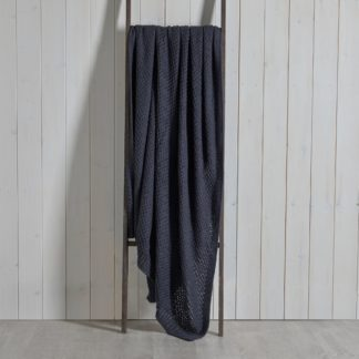 An Image of Cotton Moss Knit 130cm x 180cm Throw Charcoal (Grey)