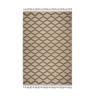 An Image of Zuri Ochre Berber Rug Cream and Yellow