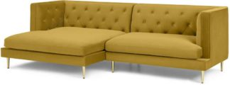 An Image of Goswell Left Hand Facing Chaise End Corner Sofa, Vintage Gold Velvet