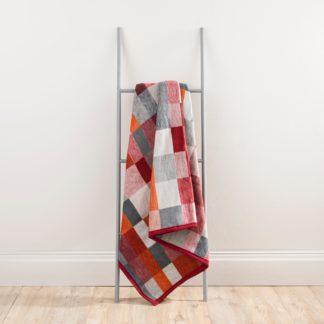 An Image of Thermosoft Orange Geometric Blanket Orange, Red and Grey