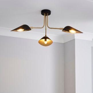 An Image of Savona 3 Light Ceiling Fitting Black Black