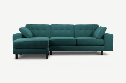 An Image of Content by Terence Conran Tobias, Left Hand facing Chaise End Sofa, Kingfisher Blue Velvet, Dark Wood Leg