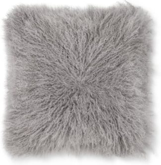An Image of Haddie Mongolian Fur Cushion 45 x 45cm, Grey