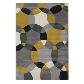 An Image of Cocktail Cosmo Geometric Rug Yellow, Grey and White