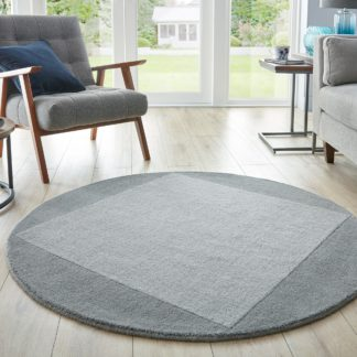 An Image of Boston Wool Border Circle Rug Boston Wool Grey