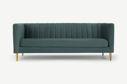 An Image of Amicie 3 Seater Sofa, Marine Green Velvet