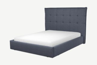 An Image of Custom MADE Lamas King Size Bed with Ottoman, Navy Wool