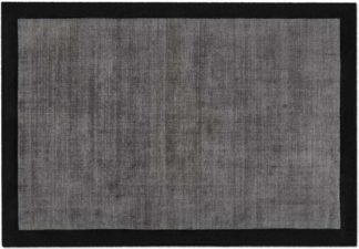 An Image of Jago Border Rug, Large 160 x 230cm, Dark Charcoal & Silver Grey
