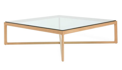 An Image of Knoll Krusin Coffee Table Natural Oak Clear Glass