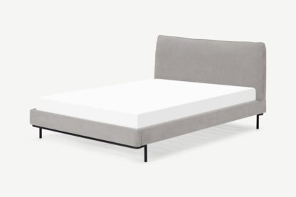 An Image of Harlow King Size Bed, Soft Pebble Grey