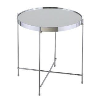 An Image of Oakland Circular Chrome Lamp Table Silver