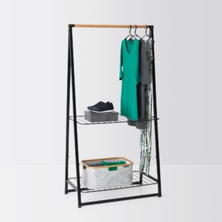 An Image of Brabantia Large Black Linen Indoor Clothes Rack Black