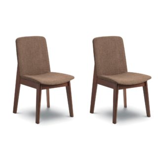 An Image of Kensington Set of 2 Dining Chairs Brown Linen Brown