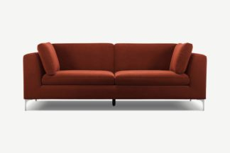 An Image of Monterosso 3 Seater Sofa, Brick Red Velvet with Chrome Leg