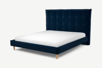 An Image of Custom MADE Lamas Super King Size Bed, Regal Blue Velvet with Oak Legs
