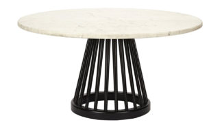 An Image of Tom Dixon Fan Large Table Marble Black Screw Base