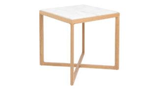 An Image of Knoll Krusin Side Table Natural Oak Calacatta Marble