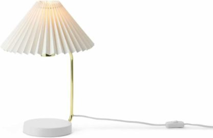 An Image of Gaby Pleated Table Lamp, Brass & White