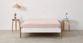 An Image of Alexia 100% Stonewashed Cotton Fitted Sheet Double, Pale Blush
