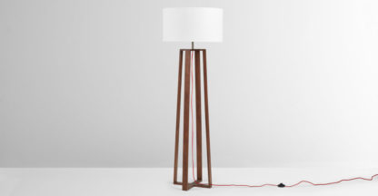 An Image of Asher Large Wooden Floor Lamp, Dark Wood Stain