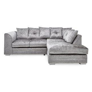 An Image of Blake Crushed Velvet Right Hand Corner Sofa Silver