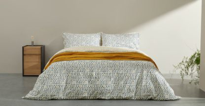 An Image of Uxi Cotton Duvet Cover + 2 Pillowcases, King, Midnight Blue & Mustard Yellow UK