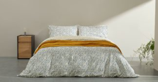 An Image of Uxi Cotton Duvet Cover + 2 Pillowcases, Double, Midnight Blue & Mustard Yellow UK