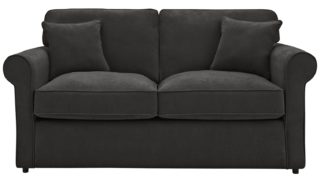 An Image of Habitat William 2 Seater Fabric Sofa Bed - Charcoal