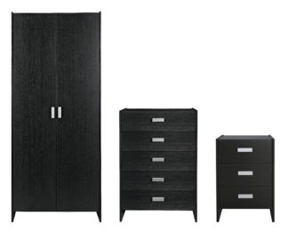 An Image of Argos Home Capella 3 Piece 2 Door Wardrobe Set - Black