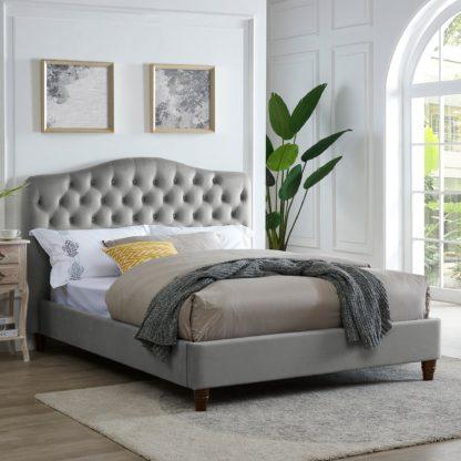 An Image of Sorrento Silver Velvet Bed Frame Silver