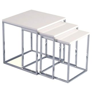 An Image of Charisma White High Gloss Nest of Tables Black/White
