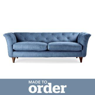 An Image of Jaipur 3 Seater Sofa Brushed Plain Fabric Brushed Plain Cobalt