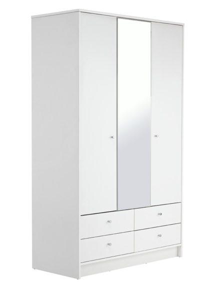 An Image of Habitat Malibu 3 Door 4 Drawer Mirror Wardrobe -Black Oak