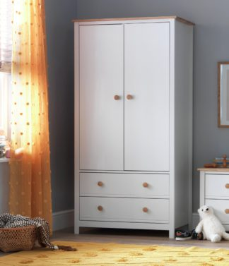 An Image of Argos Home Brooklyn 2 Door 2 Drawer Wardrobe - White and Oak