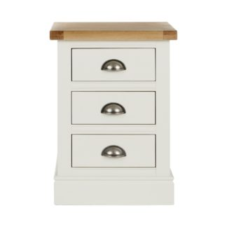 An Image of Compton Ivory 3 Drawer Bedside Table Cream and Brown