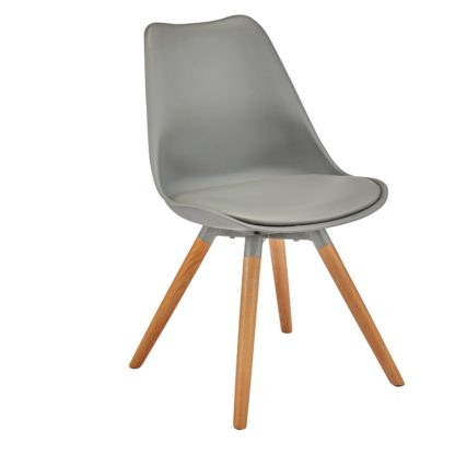 An Image of Argos Home Charlie Faux Leather Dining Chair - Grey
