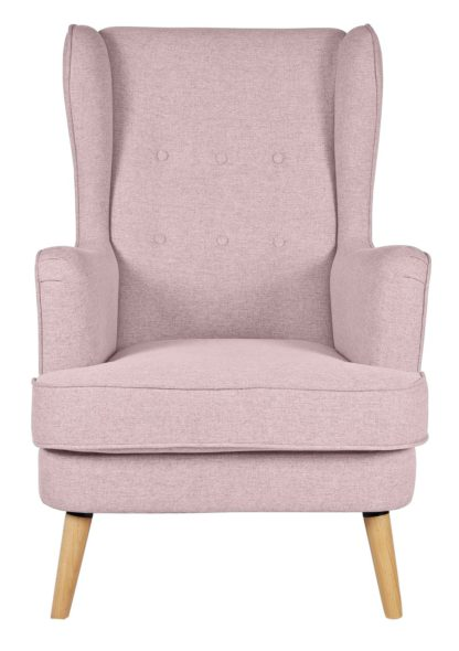 An Image of Habitat Callie Fabric Wingback Chair - Blush Pink