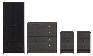 An Image of Habitat Malibu 4 Pc 2 Dr Wardrobe Set - Black Oak Effect