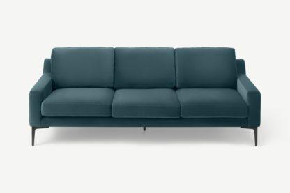 An Image of Katrine 3 Seater Sofa, Steel Blue Velvet