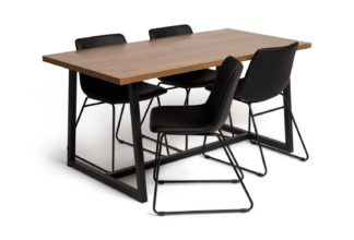 An Image of Habitat Nomad Wood Dining Table and 4 Joey Black Chairs