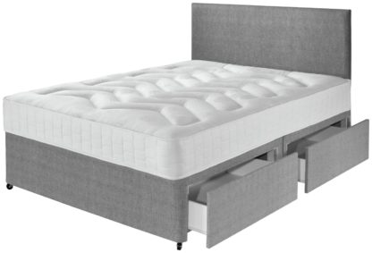 An Image of Argos Home Elmdon Double Deep Ortho 4 Drawer Divan Bed -Grey